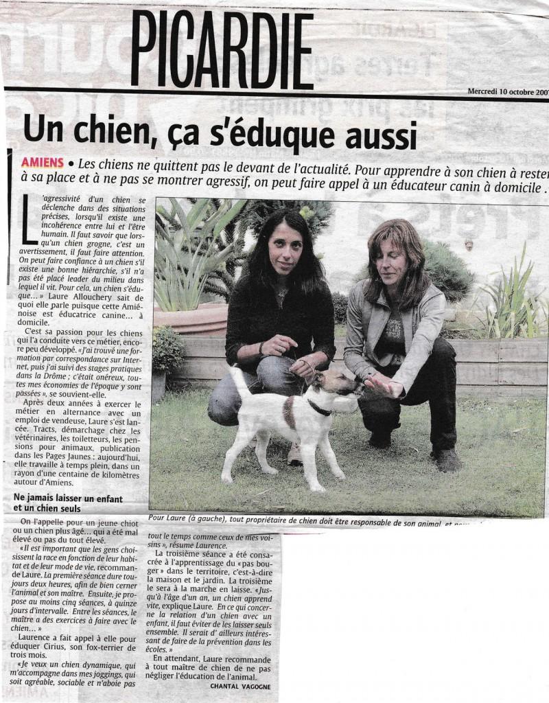 """Article du Courrier Picard """"Un chien, ça s'éduque aussi""""."""
