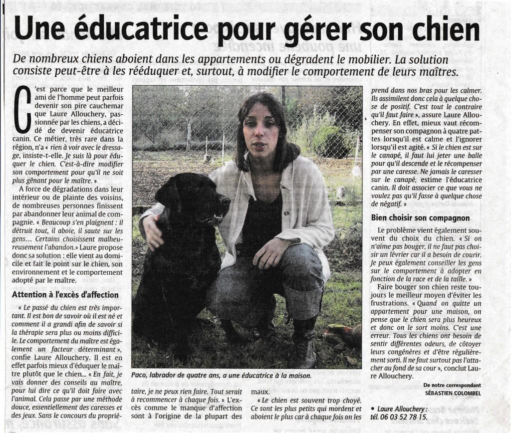 """Article du Courrier Picard sur comment gérer son chien. """"Une éducatrice pour gérer son chien"""""""