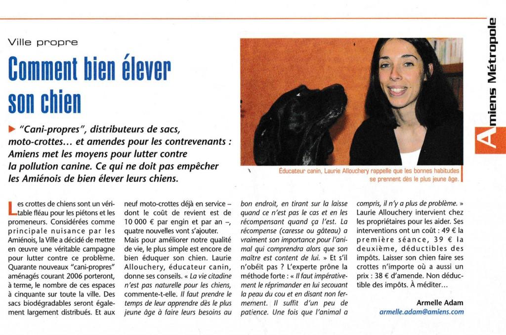 """Article du Journal Des Amienois sur """"Comment bien élever son chien""""."""